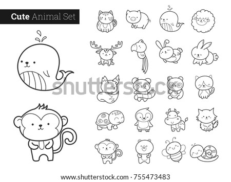 Cute animal characters vector set.
