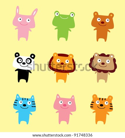 cute animal doll vector