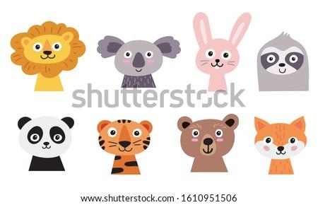 Cute animal faces set. Hand drawn characters - lion, koala, hare, sloth, panda, tiger, bear, fox