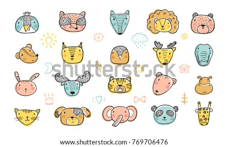 cute animal faces set hand