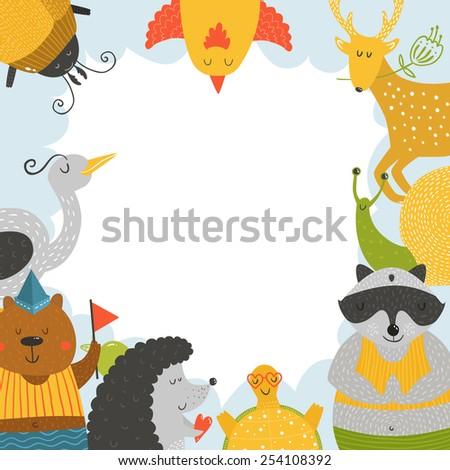 Cute animal frame with baby animals bear, bird, raccoon, beetle, hedgehog, tortoise,  snail and deer. Animal border, animal postcard with love