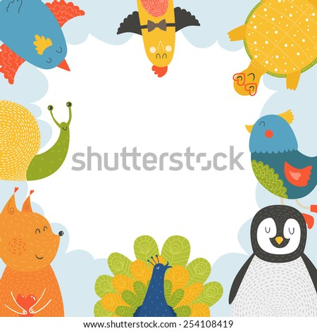 Cute animal frame with baby animals bird, penguin, squirrel, tortoise,  snail and peacock. Animal border, animal postcard with love