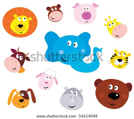 Cute animal head icons ( emoticons ). Vector illustration set of cute animals faces. Animal heads on white background. Lion, Monkey, Pig, Giraffe, Cow, Elephant, Tiger, Sheep, Dog, Hippo and Bear.