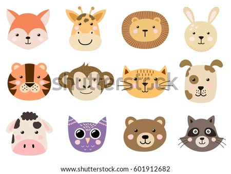Cute Animal Heads For Baby And Children Design. Fox, Giraffe, Lion, Rabbit
