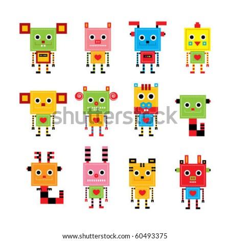 cute animal horoscope robot collection