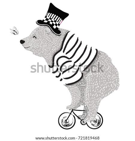 cute animal illustration/bear cycle/Circus show illustration.Performance of the bear on bike/Hand drawn Illustration. Racer big bear/T-shirt graphics / cute cartoon characters. bear book illustrations
