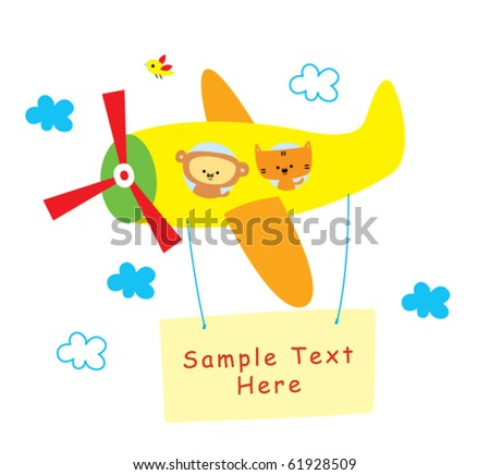 cute animal on flying plane with message