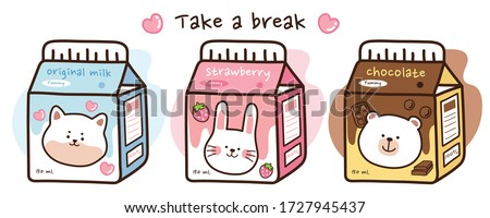Cute animal on milk box doodle set.Strawberry milk.Chocolate milk.Take a break writing on white background.Dog,rabbit,bear in cartoon style.Kid graphic.Kawaii.Collection.Vector.Illustration.