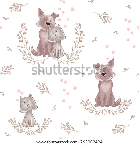 cute animal pattern cat and
