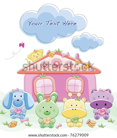 Cute animal set with background,dog,rabbit,giraffe,monkey and hippo.
