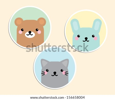 Cute Animal Sticker Vectors Bear rabbit and cat