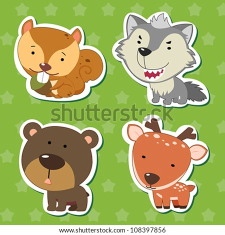 cute animal stickers with bear, wolf, squirrel, and deer.