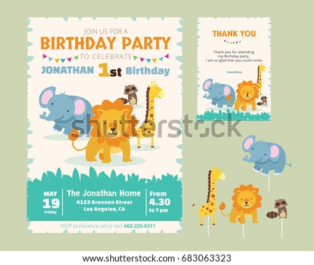 Cute Animal Theme Birthday Party Invitation And Thank You Card Illustration Template