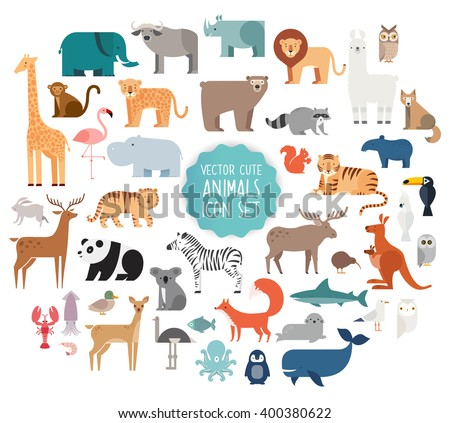 Shutterstock Cute Animal Vector illustration Icon Set isolated on a white background.
