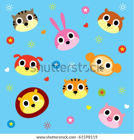 cute animal wallpapers. stock vector : cute animal