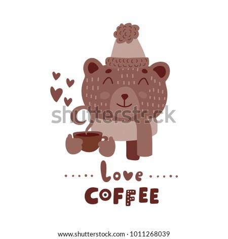 cute animal with coffee mug