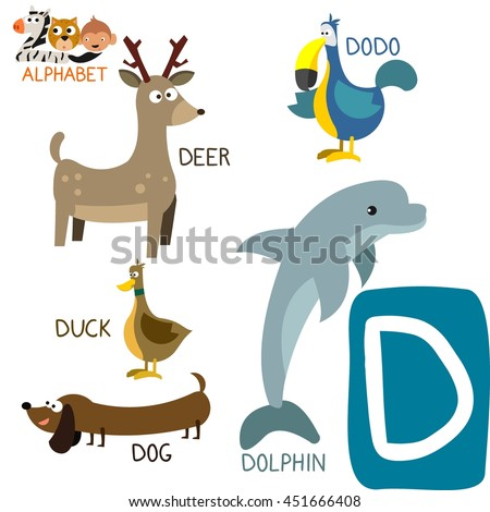 royalty free cute zoo alphabet in vector d letter 360234356 stock
