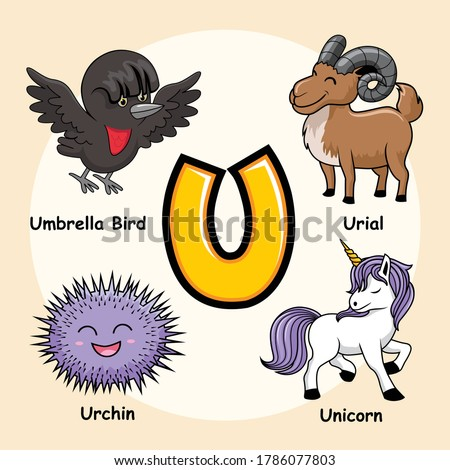 Cute Animals Alphabet Letter U for Unicorn Umbrella Bird Urial Urchin Stockfoto ©