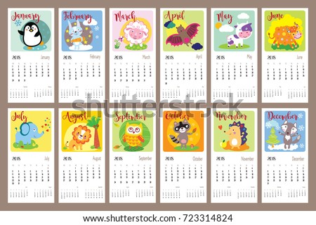 cute animals calendar 2018 year cute cartoon animals for every month vector illustration