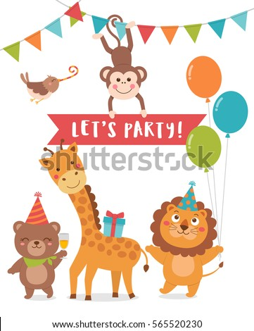 Cute animals cartoon illustration with text Let's party for party invitation card design template