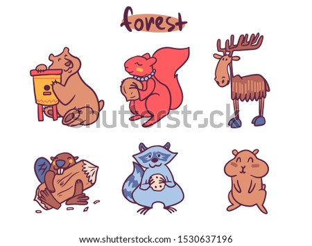 Cute animals cartoon illustrations set. Adorable woodland, farm and jungle forest mammals. Funny wildlife collection. Elephant, giraffe, penguin characters. Zoo animals stickers, childish prints pack