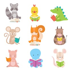 Cute Animals Characters Reading Books Set, Adorable Smart Octopus, Cow, Piglet, Squirrel, Crocodile, Chicken, Raccoon, Mouse Sitting with Books Vector Illustration