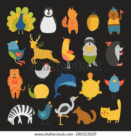 Cute animals collection, baby animals, animals vector. Vector cat, peacock, penguin, squirrel, beetle, bear, bird, deer, raccoon, hedgehog, tiger, dolphin, heron, tortoise, zebra, dog, snail isolated