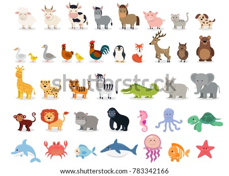 Cute animals collection: farm animals, wild animals, marina animals isolated on white background. Vector illustration design template stock photo
