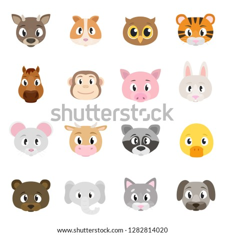 Cute animals collection, set of animal faces. Deer, hamster, owl, tiger, horse, monkey, etc. Isolated vector illustration