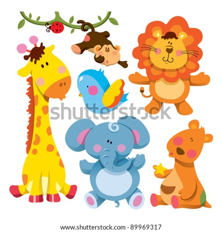 Cute Animals Collections - stock vector