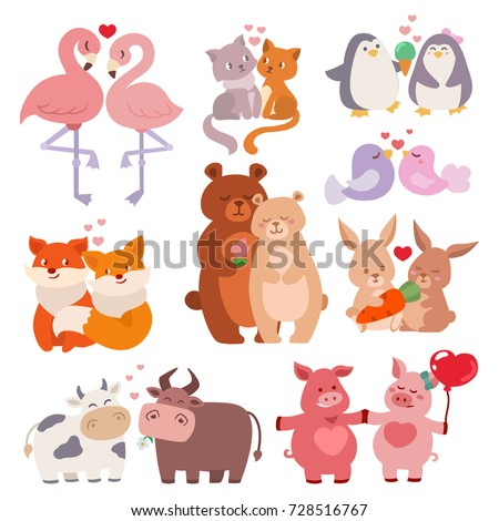 Cute animals couples in love collection happy valentines day loving cartoon characters together nature wildlife vector illustration.