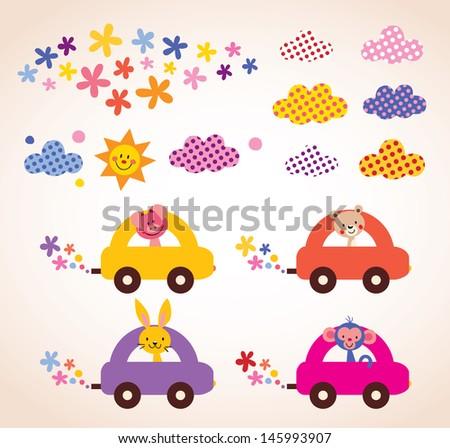 cute animals driving cars kids stuff design elements set