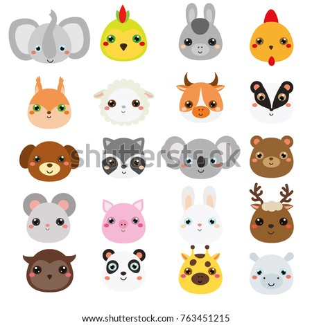 Cute animals faces. Big set of cartoon kawaii wildlife and farm animals icons. Stickers, emoji. design elements for kids