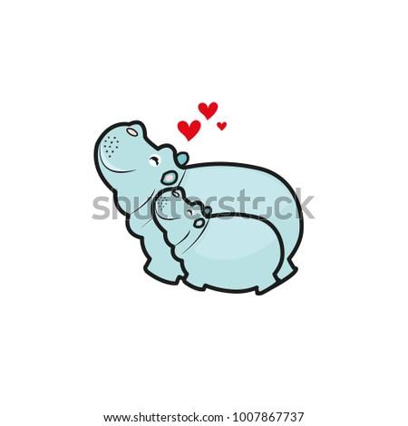 Cute animals family. Mama Hippo and baby Hippo.