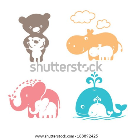 Cute animals family. Mom Bear and baby Bear. Mama Hippo and baby Hippo. Mother Elephant and baby Elephant. Mom Whale and baby Whale.