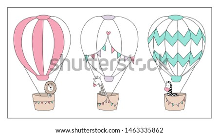 Cute animals fly on balloons. Lion, giraffe and zebra.  Great for kids apparel, nursery decoration. Vector Illustration