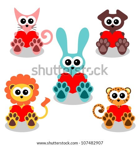 Cute animals holding hearts set