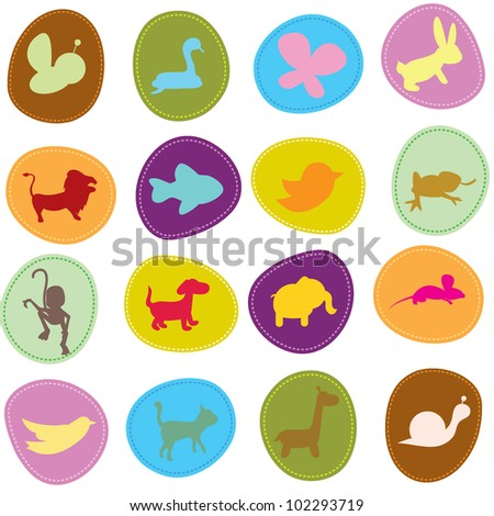 cute animals icons for zoo, wildlife, pets and other theme