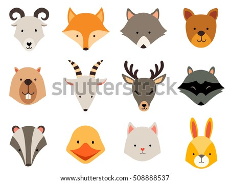 Cute animals icons set. Cat and wolf head, rabbit logo. Cartoon raccon card. Vector flat illustration isolated on white background