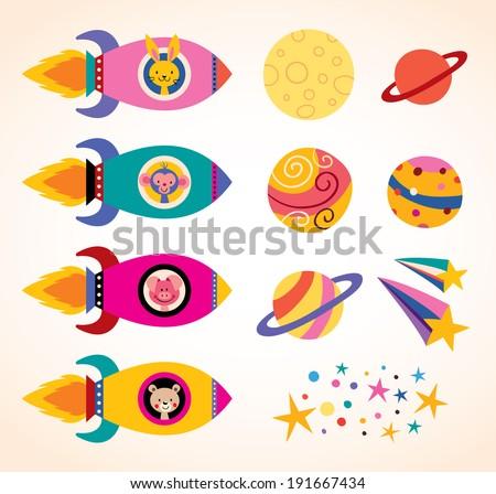 cute animals in spaceships kids