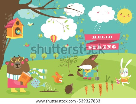 cute animals in spring forest