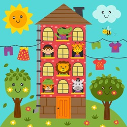 cute animals in the home - vector illustration, eps