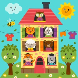 cute animals in the house - vector illustration, eps