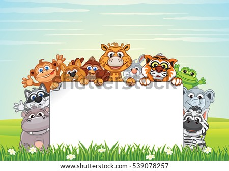 cute animals on green meadow