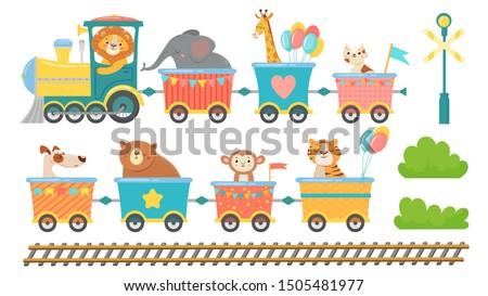 cute animals on train happy