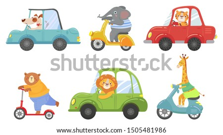 Cute animals on transport. Animal on scooter, driving car and zoo travel. Dog, elephant and tiger transportation vehicle drivers character. Cartoon isolated vector illustration icons set
