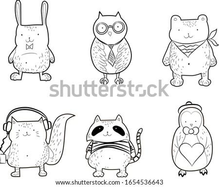 Cute animals set, animal coloring  for kids, rabbit, owl, bear, cat, racoon, pinguin. 小可爱动物 ストックフォト ©