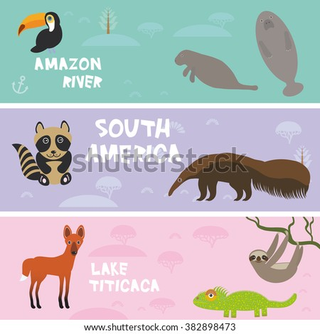 cute animals set anteater