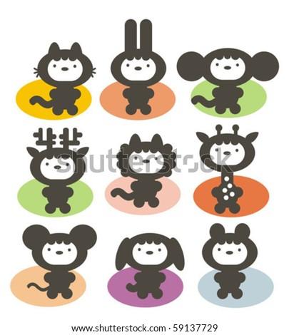 cute animals set vector