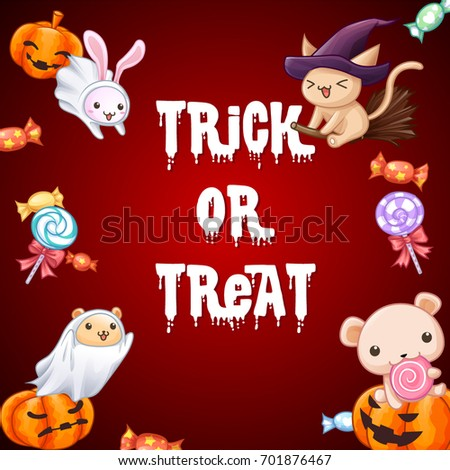 Cute animals trick or treat festival background vector #701876467